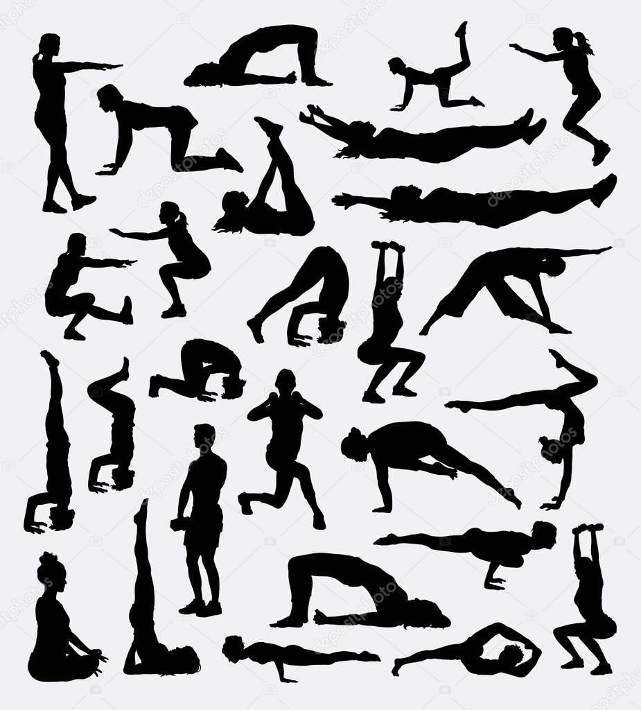 Fitness Male And Female Sport Bundle Silhouette Stock Vector