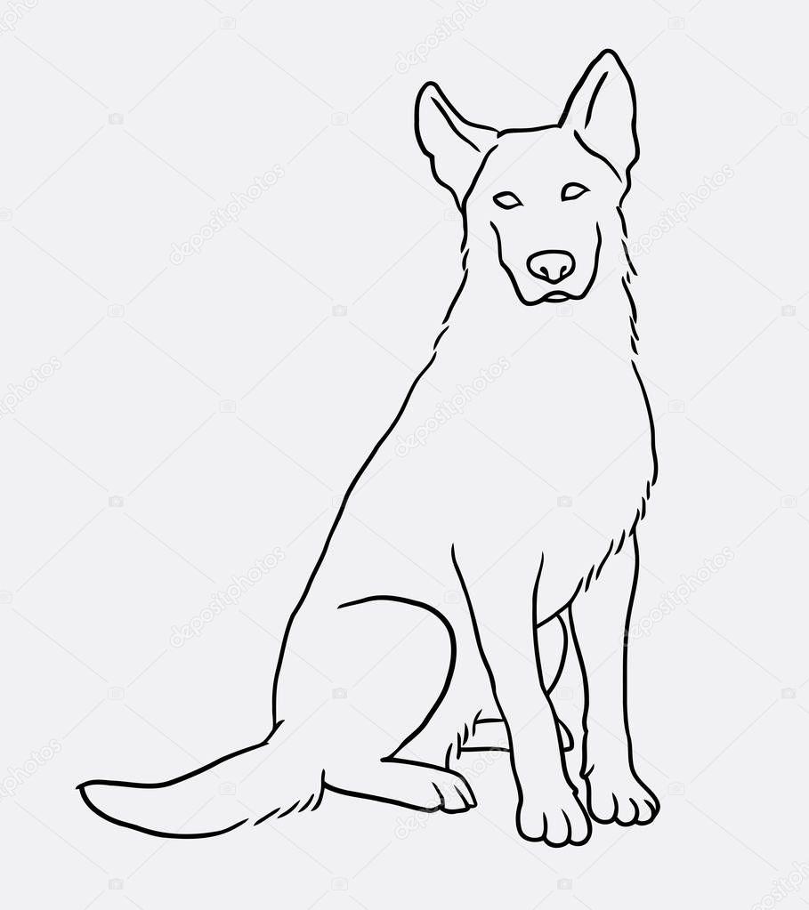 Dibujo Perro Sentado