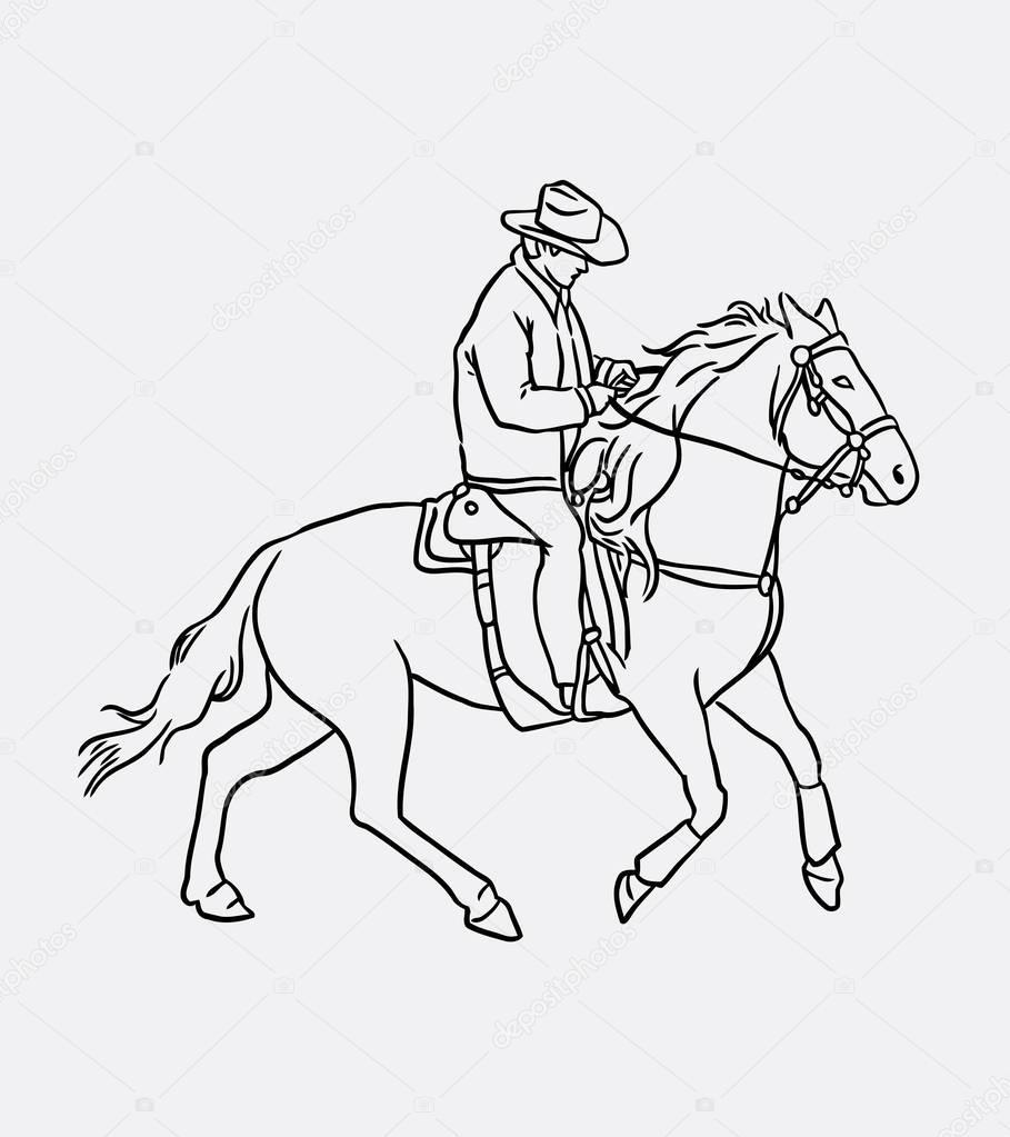 Dibujos Señores Gordos Arte De Línea De Caballo Vaquero A Caballo