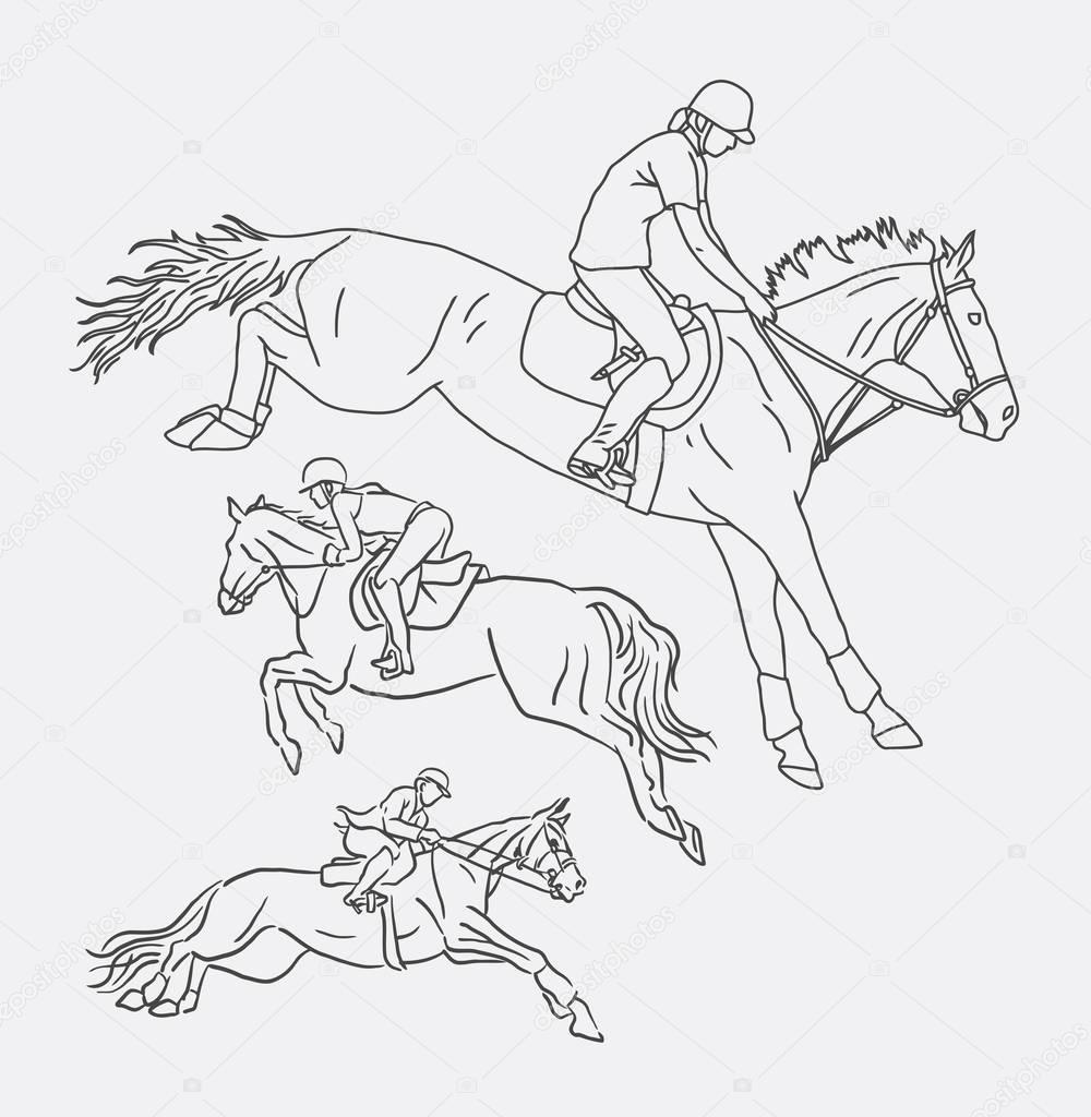 Horse Rider Clip Art Jockey Riding Horse Sport Line Art Drawing Stock Vector C Cundrawan703 129513394