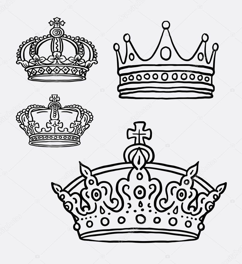 coroa o rei símbolo arte linha desenho vetor de stock