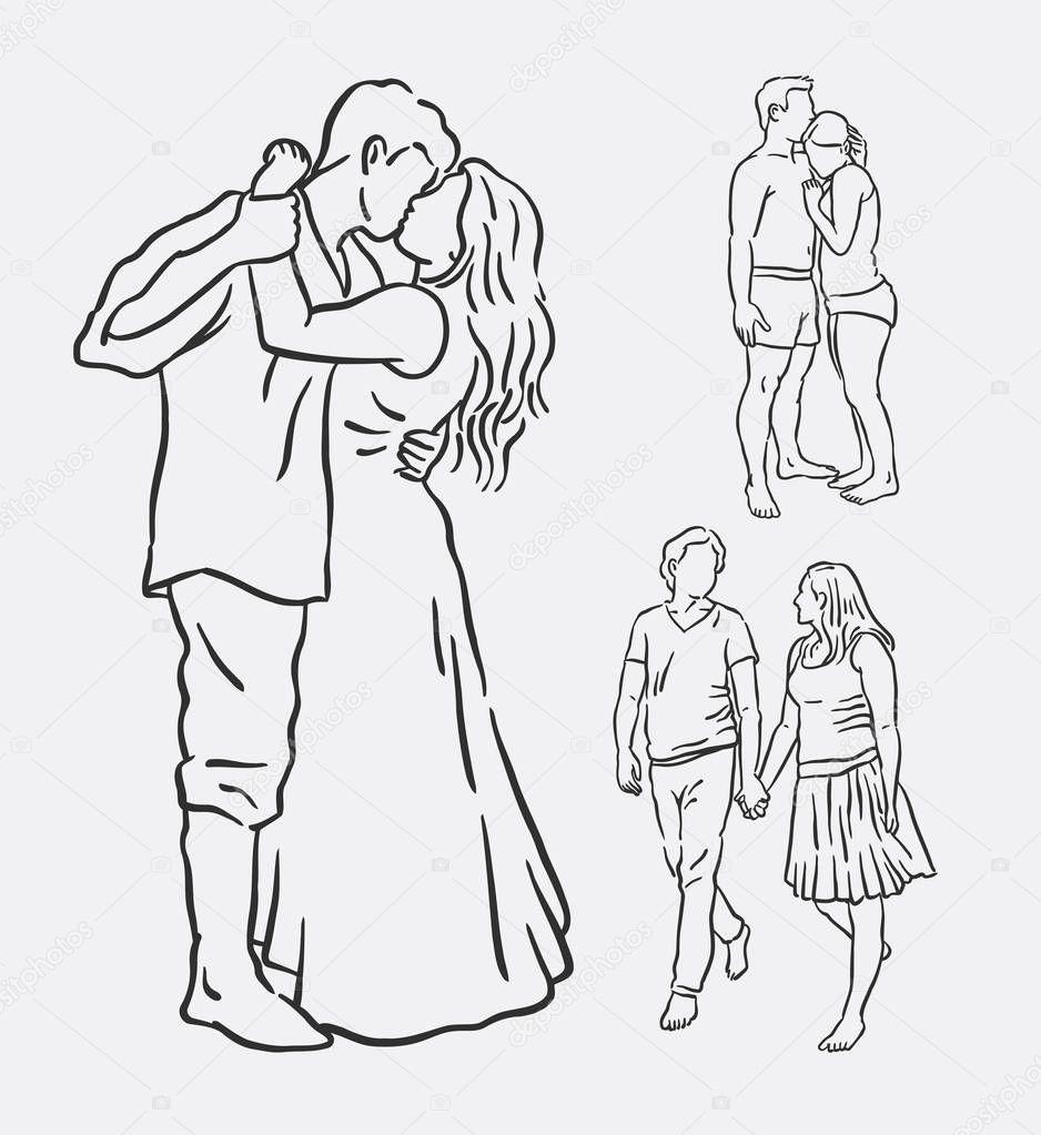 Amour Couple Romantique Ligne Art Dessin Image Vectorielle