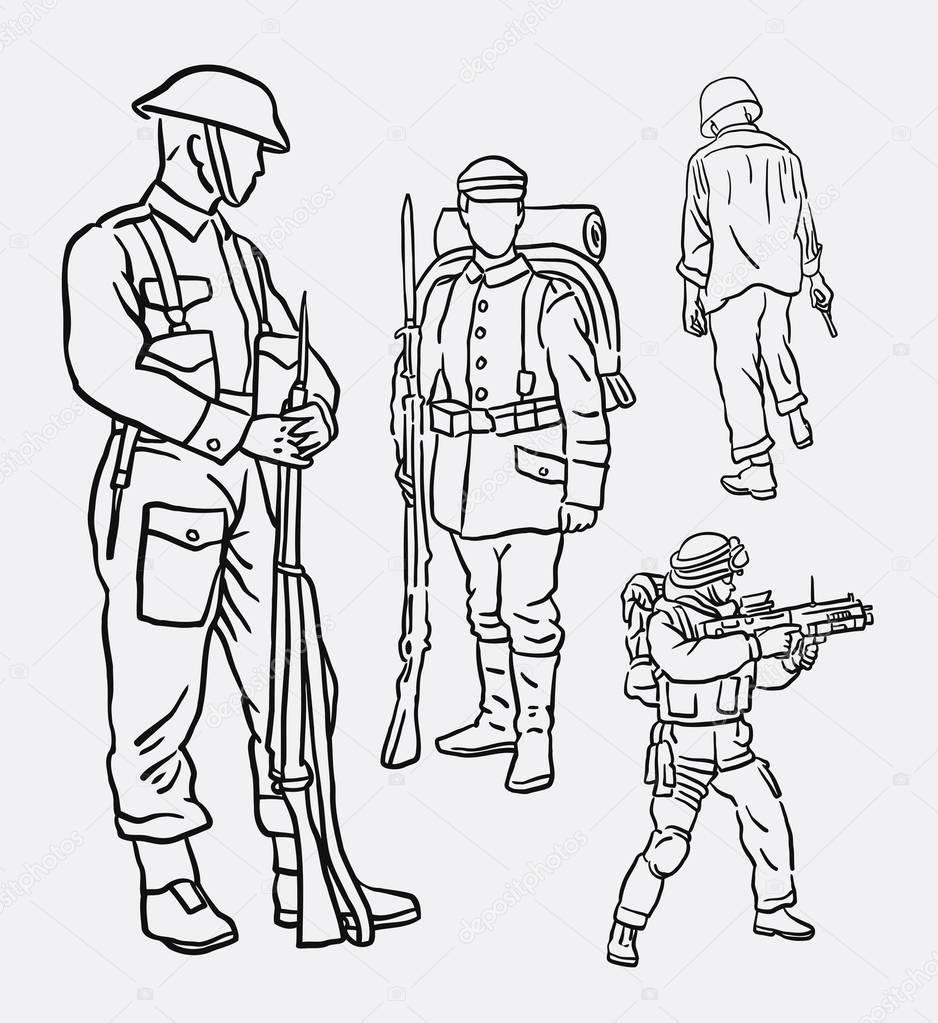 Dibujos Para Colorear Dia Del Soldado Ejército Soldado