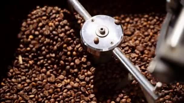 Coffee bean roasting Process Coffee Roaster. Coffee beans in the roaster.