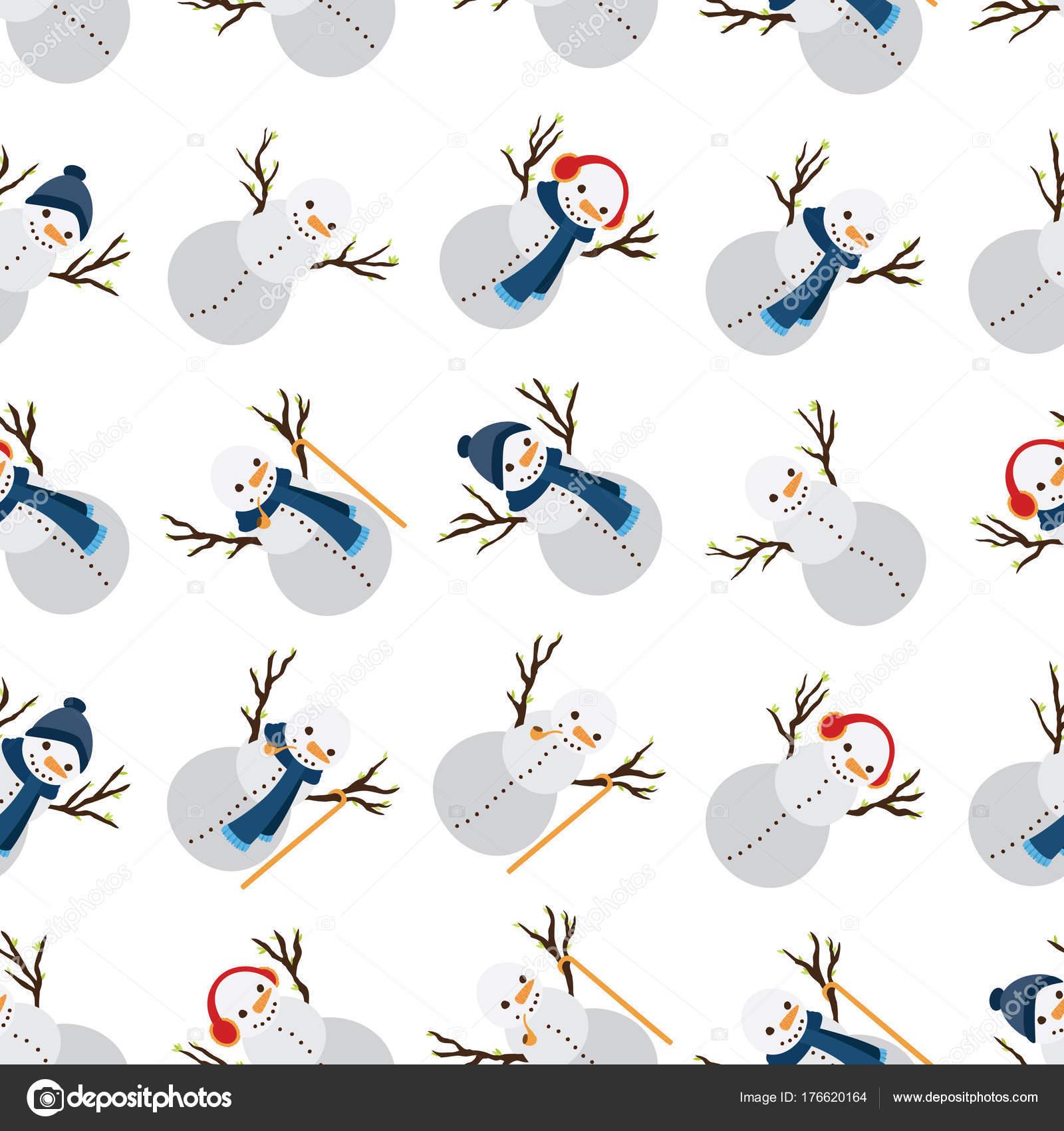 Muñeco Nieve Con Varios Atributos Patrón Sin Costuras — Foto de ...