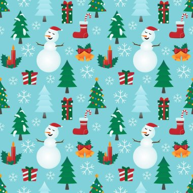 Christmas pattern with light blue background.
