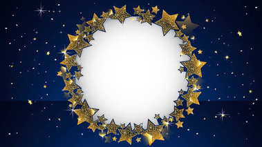 Luxury Greeting card concept rounding by golden star and using die-cut in the middle.Dark blue background included splashing stars ,snows and flares.Premium event invitation at space color theme.