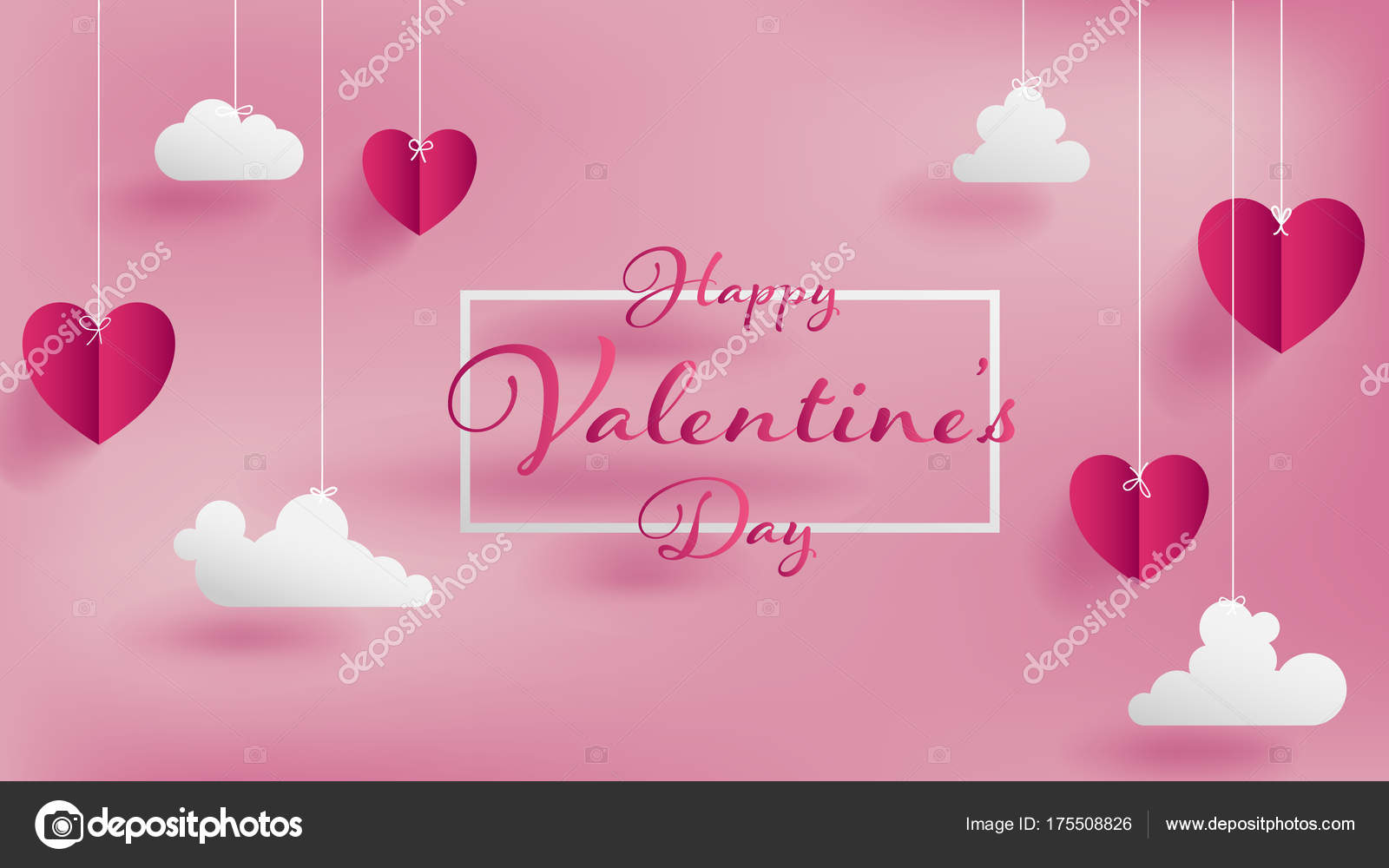 Valentine Day Craft Paper Design Contain Pink Hearts Clouds Holding