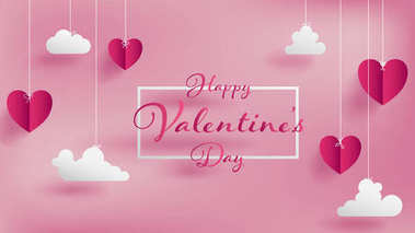 Valentine's day of craft paper design,contain pink hearts and clouds are holding by sting on top,soft pink background feel like fluffy in the air,Happy Valentine's Day text in middle with white border