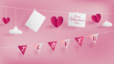 Valentine 's day paper craft concept contain two white strings, top hanging empty paper for short note or your lover photo,bottom holding flags with text I LOVE YOU,Soft pink background
