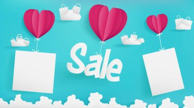 Valentine's day of Sale banner,blue sky  background,three hearts are holding mock up of empty paper and Sale text,floating clouds are contain shopping bags and wave of clouds at bottom.