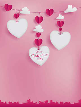 Valentines paper art concept contain hearts and clouds stick to red string.Three die-cuts as heart shape work with sweet couple photo or short note event promotion of marketing banner too.