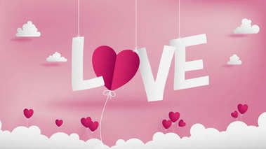 Valentines  paper art concept contains many shape of paper cutting elements such as LOVE text in middle hanging by string ,O alphabet replaced by heart flower and little flowers on the clouds.
