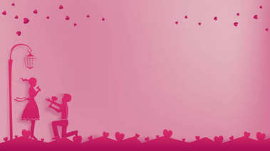 Romantic paper art concept or paper cutting style contains pink street lamp,tiny hearts on the sky and the ground.Boy try to ask girl for a date or to have a love.Artwork leave a free area on right.