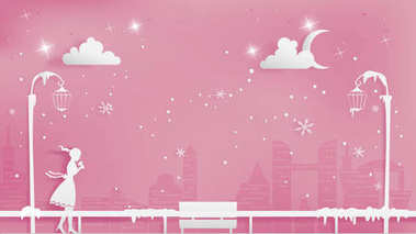 Lonely girl walking through the snow on sidewalk of metropolis.Combination of Valentines and Christmas conception contains street lamps,bench,snowflake,eclipse, large of city and soft pink background