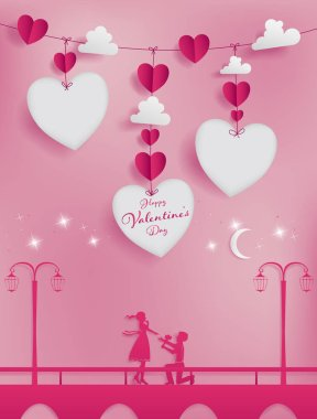 Valentines paper art concept contain hearts and clouds stick to red string.Three die-cuts as heart shape work with sweet couple photo or short note event promotion of marketing banner.pink background.