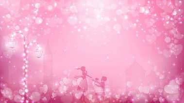 Abstract valentines background as  street view in romantic moment contains pastel color tone,street lamp with fairy lights, transparent town background,a couple in love and free space in the middle.