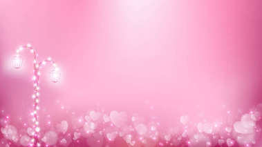 Abstract valentines background as  romantic moment contains pastel color tone,street lamp with fairy lights on the left and free space in the middle.
