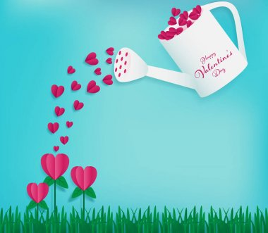 Watering can contains full of red hearts and water on the heart flowers as valentines paper art conception included soft blue sky background ,paper grass on bottom ,happy valentine's day word on can.