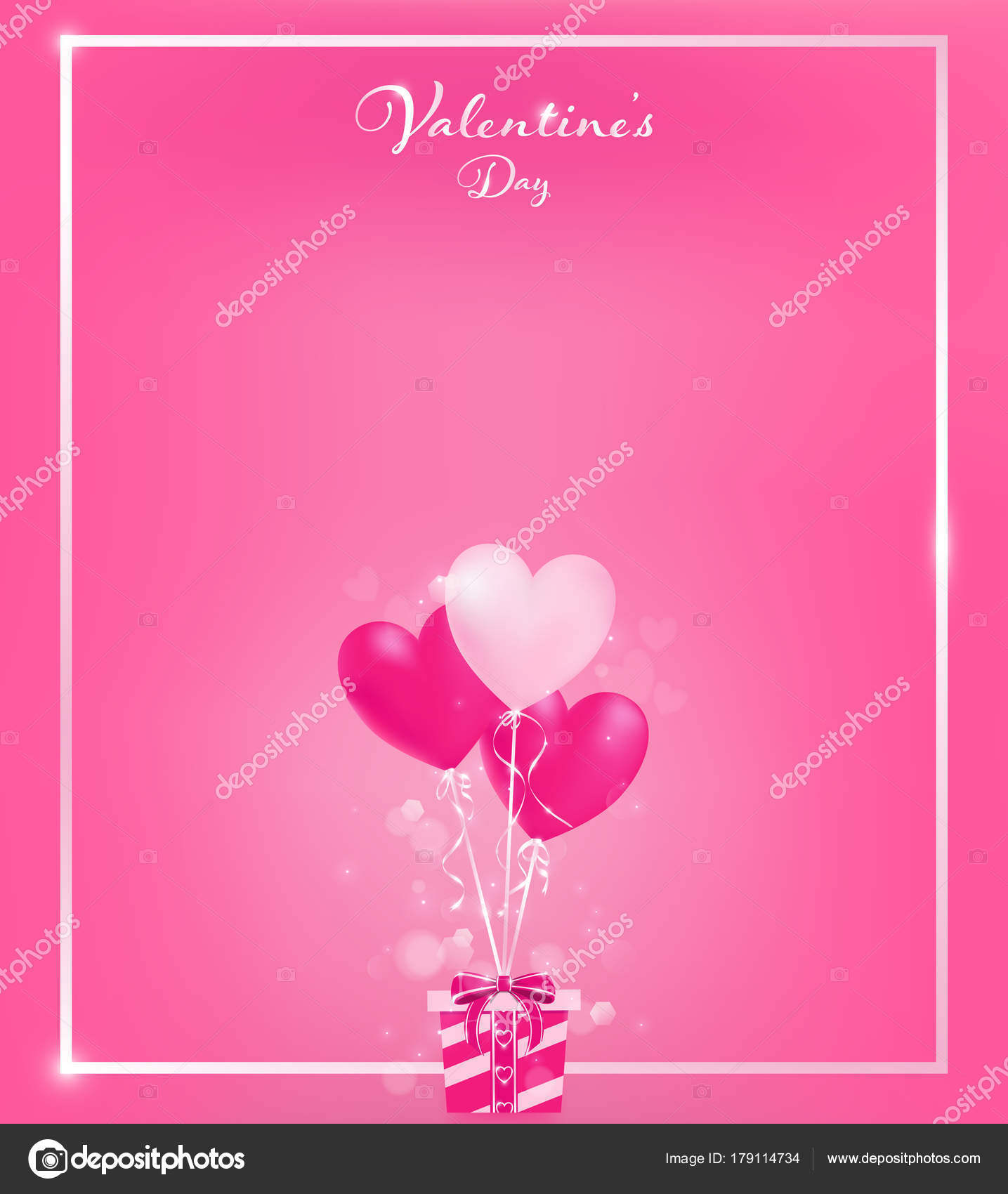 Soft pink invitation card pearl pink border heart balloons tie soft pink invitation card with pearl pink border and heart balloons tie to a gift box along with magic flares are dropping down artwork usage in stopboris Gallery