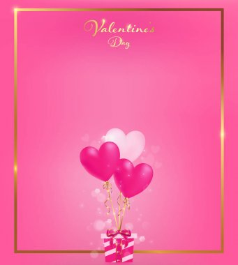 soft pink invitation card with gold border  and heart balloons tie to a gift box along with magic flares are dropping down,   artwork usage in advertising decorative or cerebrate invitation.