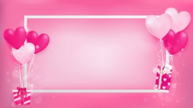 white border with balloon hearts holding sweet gifts on left and right ,artwork contain pastel colors and magic shapes are dropping from decor objects ,middle have some free space for copy and past.