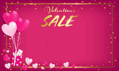 pink board with gold border and valentine's day sale text ,golden heart glitter drop beside border ,balloons tie to gift box,  artwork usage in advertising decorative or cerebrate invitation.