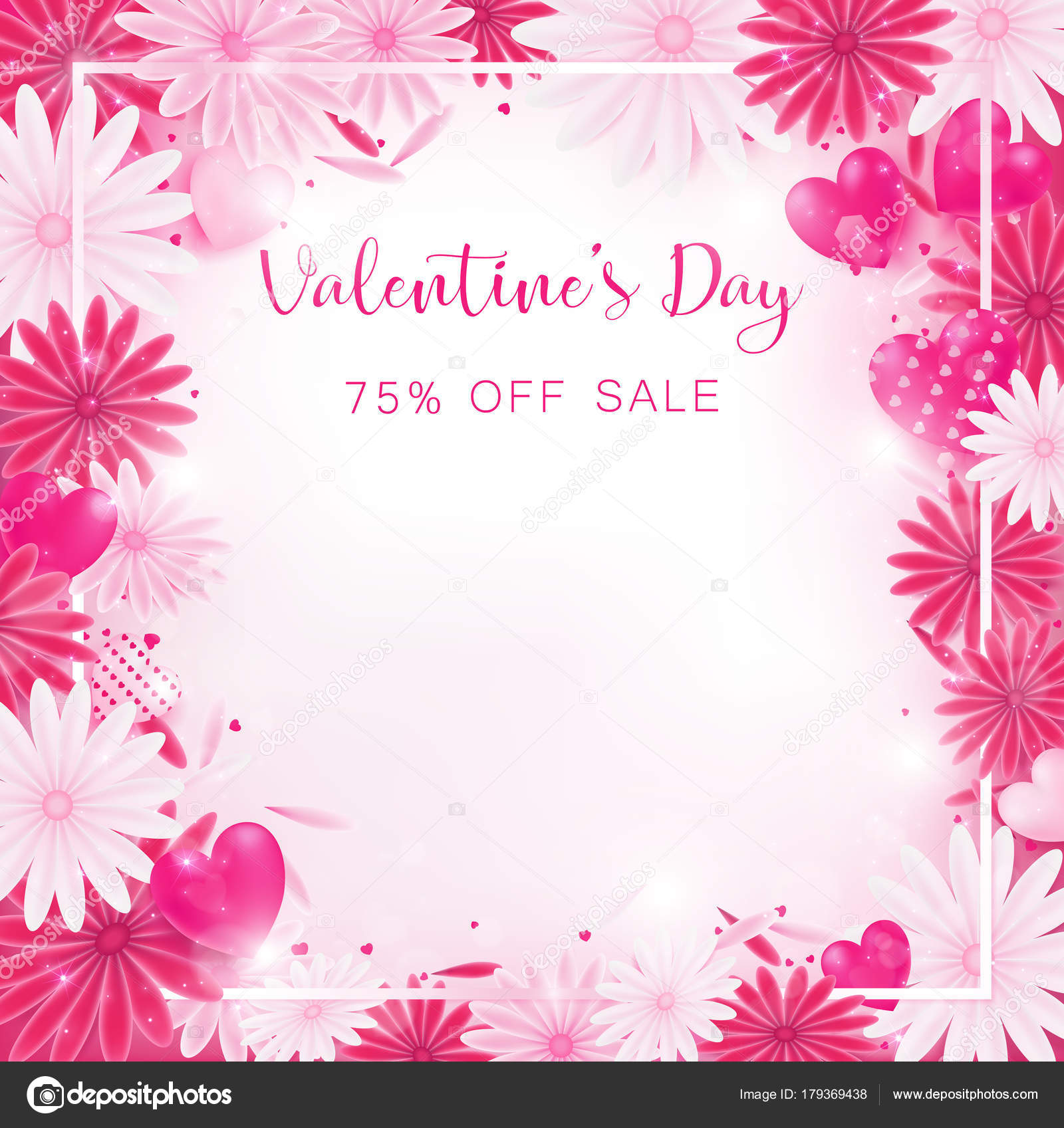 Valentine Floral Invitation Decorate Red Pink Color Flower Blooming