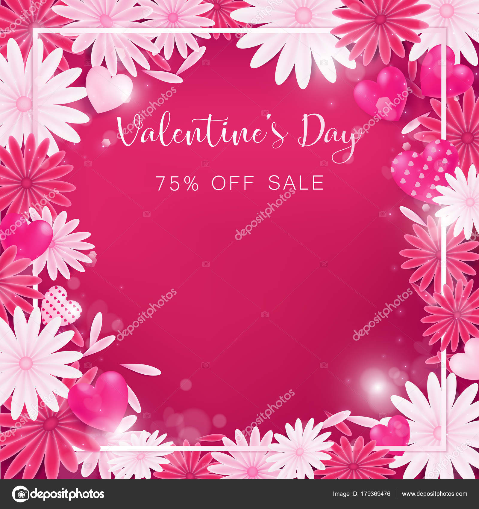Valentinstag Blumen Einladung Ist Dekorieren Rot Und Rosa Farbe Als