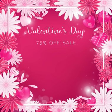 valentine floral invitation is decorate in red and pink color as flower blooming, border is pearl pink along with petals are dropped on beside , usage in advertising decorative or cerebrate invitation