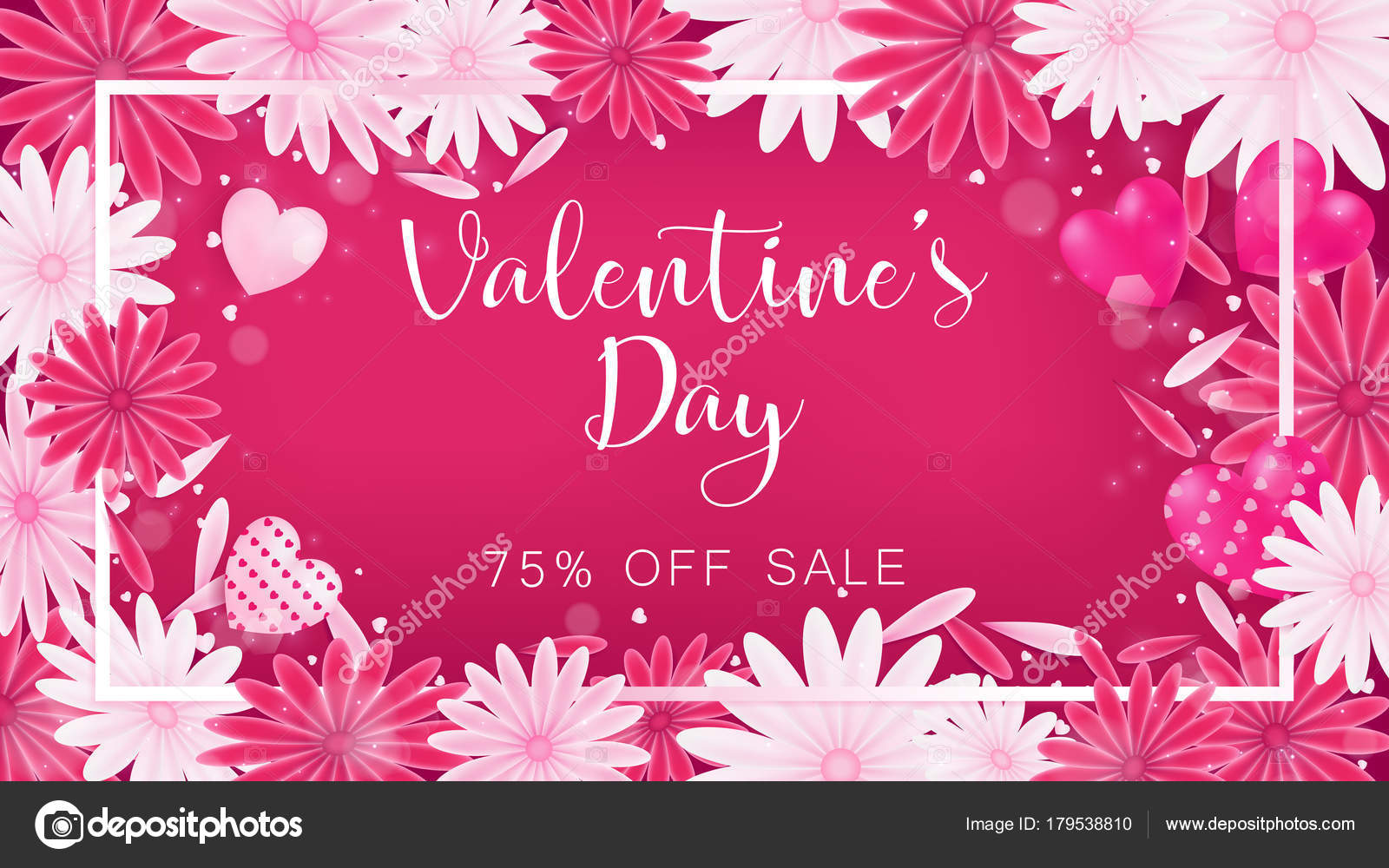 Valentine floral invitation decorate red pink color flower blooming valentine floral invitation is decorate in red and pink color as flower blooming border is pearl pink along with petals are dropped on beside usage in stopboris Images