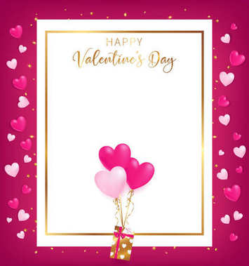 white space board with gold border and happy valentine's day text ,golden heart glitter drop beside board ,balloons tie to gift box,  artwork usage in advertising decorative or cerebrate invitation.