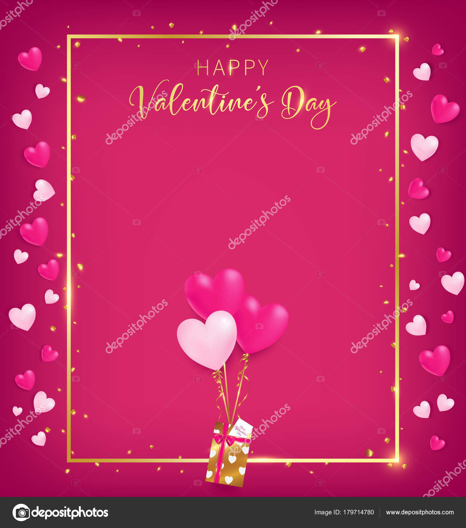 valentines board gold border happy valentine day text golden heart stock vector