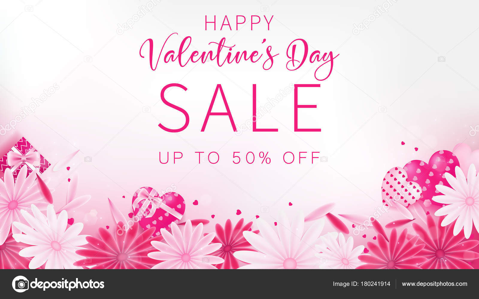 Valentine Day Sale Banner Sweet Tone Color Included Floral Gift