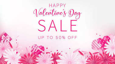 Valentine's Day Sale banner as sweet tone color included floral ,gift box and heart decoration, free space as middle with white background ,composition is top view arrangement at bottom