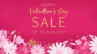 Valentine's Day Sale red magenta banner as sweet tone color included floral ,gift box and heart decoration, free space as middle with red background ,composition is top view arrangement at bottom