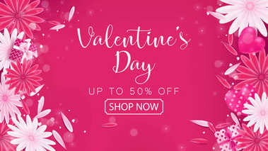Valentine's Day Sale red magenta banner as sweet tone color included floral ,gift box and heart decoration ,composition is top view arrangement at left and right