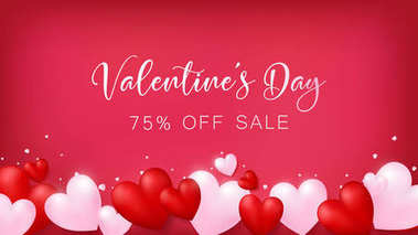 soft red banner with heart decoration on bottom along with minor of glitter ,Valentine's Day 75% OFF SALE on middle , usage in advertising decorative or cerebrate invitation