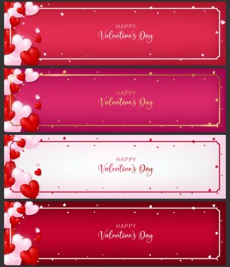 template of voucher  card as valentine conception included 4 types of paper each paper contain heart ,border and greeting text of valentine