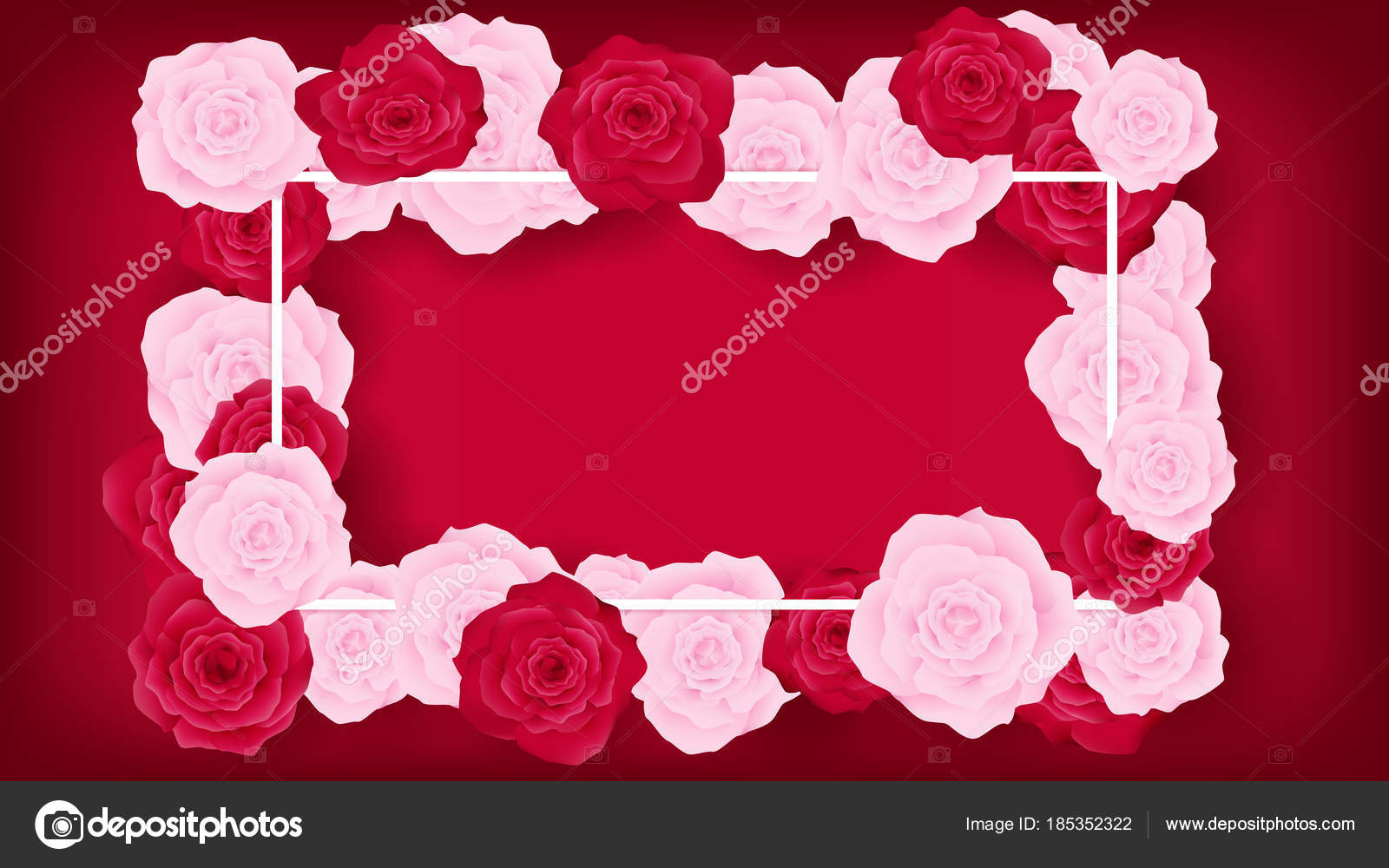 Top view sweet invitation decorate red background border pink red invitation decorate in red background beside border along with pink and red rose middle leave some copy space recommended in white textartwork usage stopboris Gallery