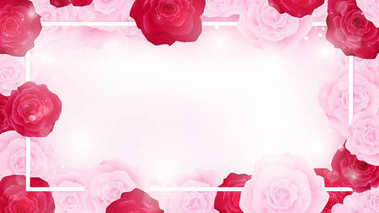 top view valentine floral invitation rounding by pink and red roses, artwork has some copy space in middle as white background , all elements are fill sweet pink tone color