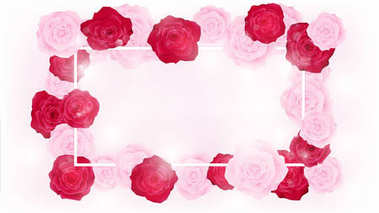 top view isolate valentine floral invitation rounding by pink and red roses, artwork has some copy space in middle as white background , all elements are fill pastel color, white flare along with rose