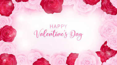 top view valentine's day invitation decorate in white paper , border along with pink and red rose, middle contain white valentine's day discounting text ,artwork usage in celebration or event