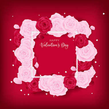 top view love valentine's day square template included white happy valentine's day text and border ,floral is arranged by pink rose and red rose along with white heart glitter on the red background