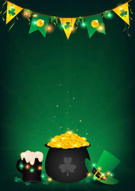 st. Patrick's Day vertical background contains  fairy lights tie up around a pot of gold coin, top hanging bunting and holding string lights ,beer and green top hat be side a black pot over shamrock