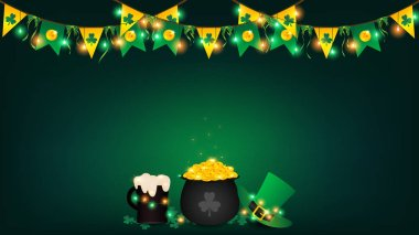Saint Patrick's Day background contains fairy lights tie up around a pot of gold coin, top hanging bunting and holding string lights ,beer and green top hat be side a black pot over shamrock