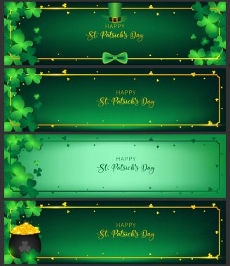 St. Patrick`s Day horizontal handbill of banners contain golden border ,shamrock along with border ,dark green background and golden text, free space on the corner as green tone of single spotlight