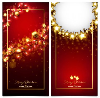 red luxury Christmas invitation card consist of golden ornaments such as stars,balls and fairy particles falling from each decoration
