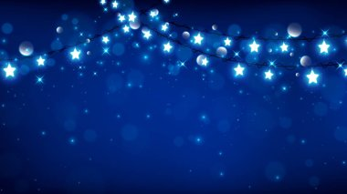 Christmas background consist of fairy lights as star shape with magic particle falling down on dark blue background