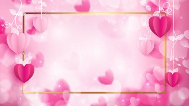 valentine frame for advertising consist of paper craft as heart shapes   and golden border on abstract background included particle and pastel glare color